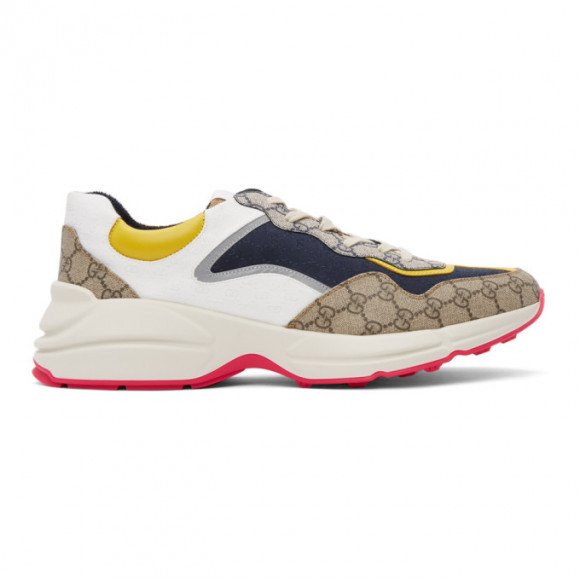 Gucci Beige and Navy GG Rhyton Sneakers - 619891-99WF0