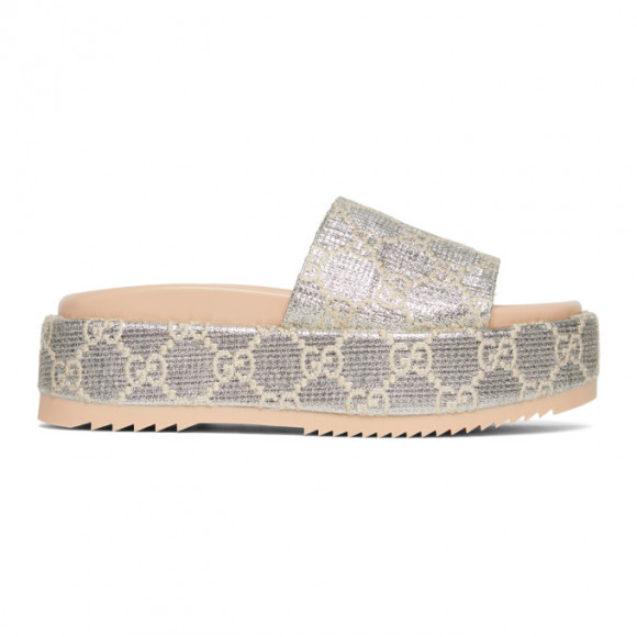 Gucci Silver Lame GG Sandals - 623212-2AW00