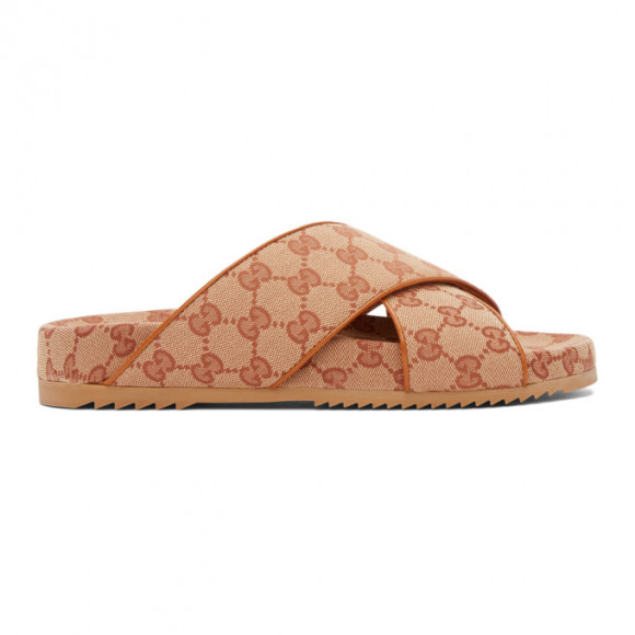 Gucci Beige GG Crisscross Sideline Sandals - 624697-H6320
