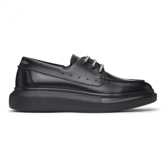 Alexander McQueen Black Leather Boat Shoes - 625195WHYF0