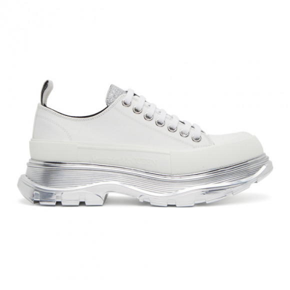 Alexander McQueen White and Silver Tread Slick Low Sneakers - 627204W4N12