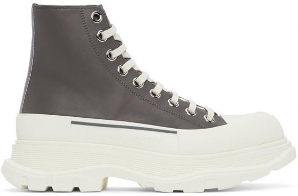 Alexander McQueen Grey Leather Tread Slick High Sneakers - 627206WIAG6