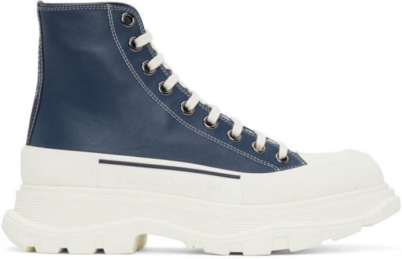 Alexander McQueen Navy Leather Tread Slick High Sneakers - 627206WIAM2