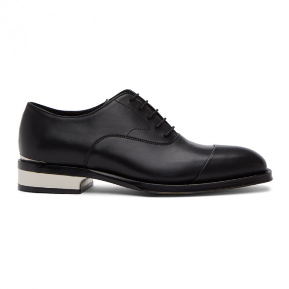Alexander McQueen Black and Silver Leather Lace-Up Oxfords - 627210WHYH2