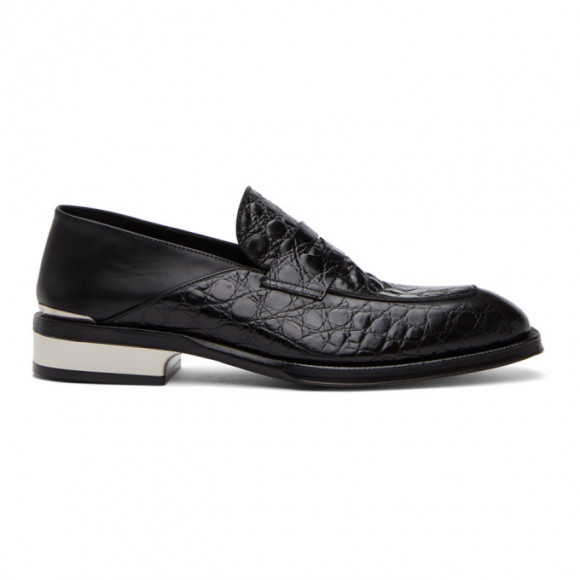 Alexander McQueen Black and Silver Croc Loafers - 627214WHYE1