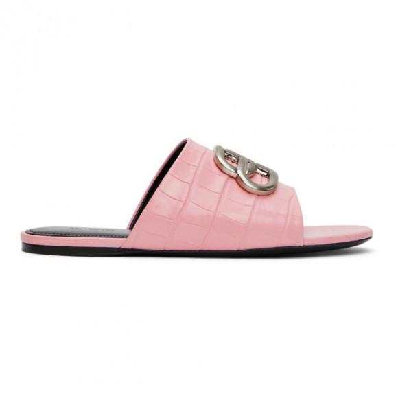 Balenciaga Pink Croc BB Sandals - 629537-WA9D3