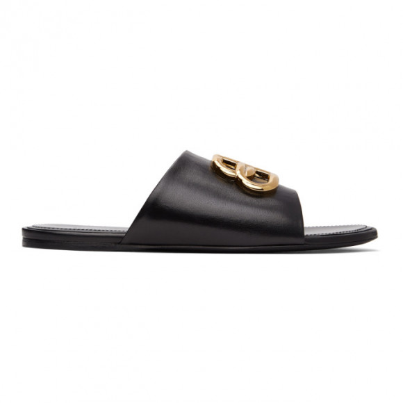 Balenciaga Black Oval BB Sandals - 630014-WA8F9
