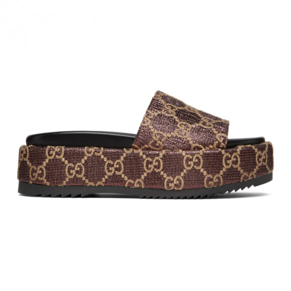 Gucci Burgundy Lame GG Sandals - 630878-2AW00