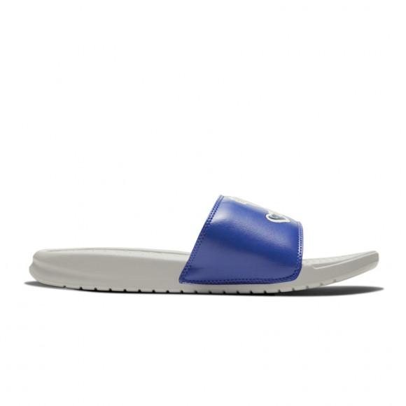 Nike Mens Nike Benassi JDI Slide - Mens Shoes Light Bone/Blue Fury/Persian Violet Size 11.0 - 631261-038