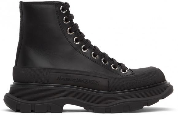 Alexander McQueen Black Leather Tread Slick Sneakers - 633900-WHZ62