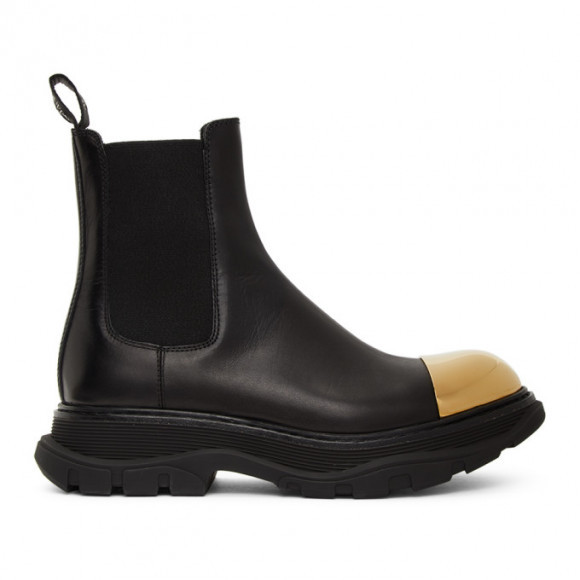 Alexander McQueen Black and Gold Shiny Toe Chelsea Boots - 634614WHXHZ