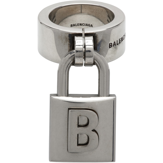 Balenciaga Silver Lock Ring - 637622-TZ99I