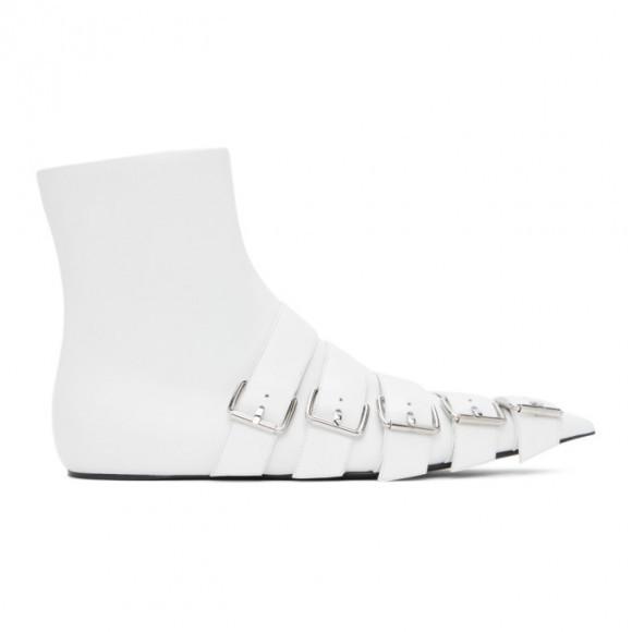 Balenciaga White Buckle Knife Boots - 643140-WA8FE