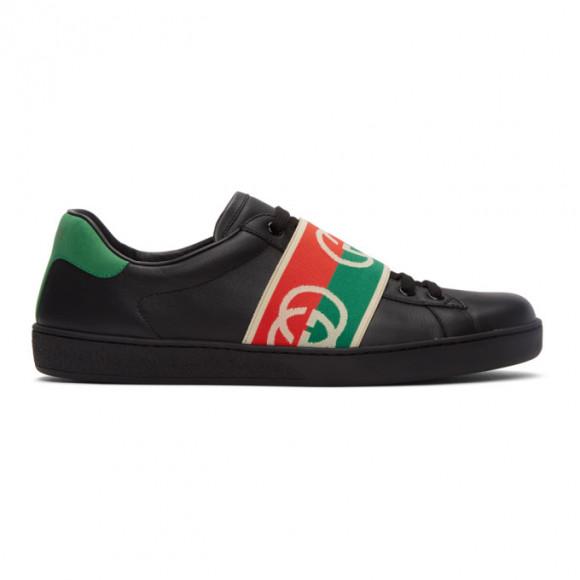 Gucci White Elastic Ace Sneakers - 643488-1XGF0