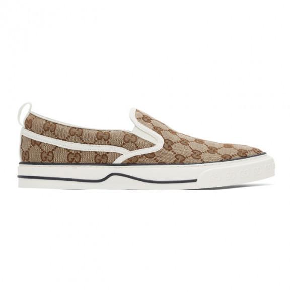 Gucci Beige and Brown Tennis 1977 Slip-On Sneakers - 643489-2HK30