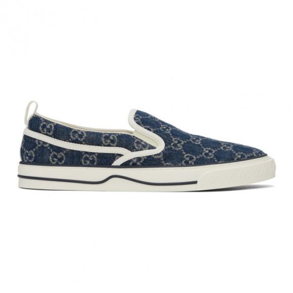 Gucci Blue Denim Gucci Tennis 1977 Slip-On Sneakers - 643489-2KQ20