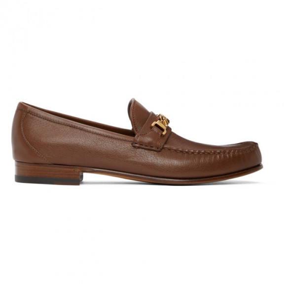 Gucci Brown Chain Loafers - 643620-16M00