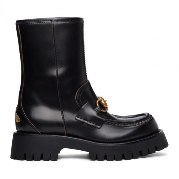Gucci Black Horsebit Ankle Boots - 643900-DS800