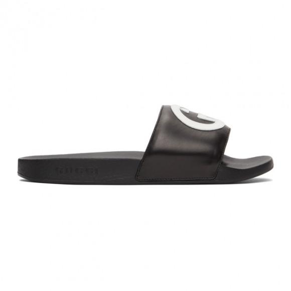 Gucci Black Interlocking G Slides - 644756-0R0F0