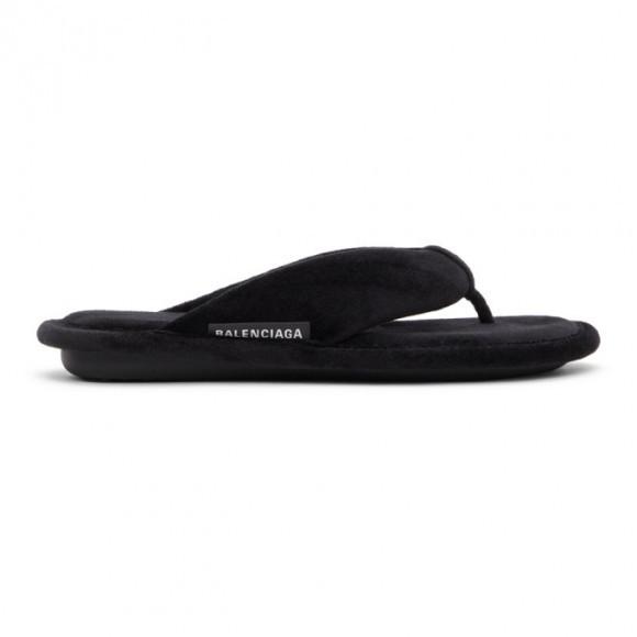 Balenciaga Black Soft Thong Sandals - 644777-W29Z0