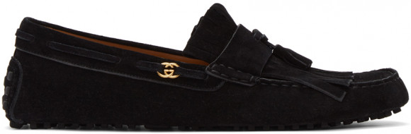 Gucci Black Suede Interlocking G Driver Loafers - 645193-CH000