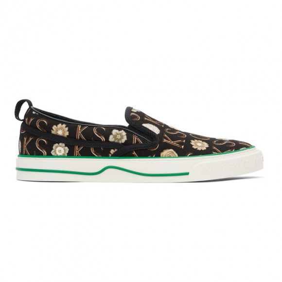 Gucci Black and Off-White Ken Scott Edition Tennis 1977 Sneakers - 645277-2LM30