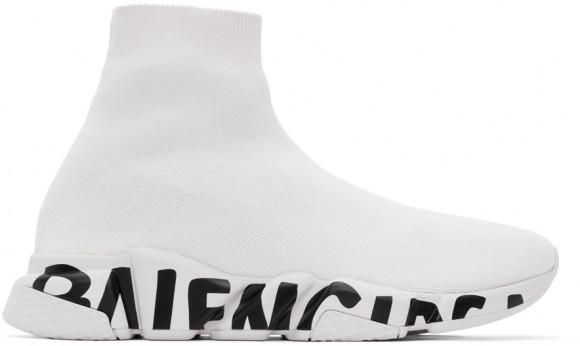 Balenciaga White Speed LT Graffiti Sneakers - 645334-W2DB7-1901