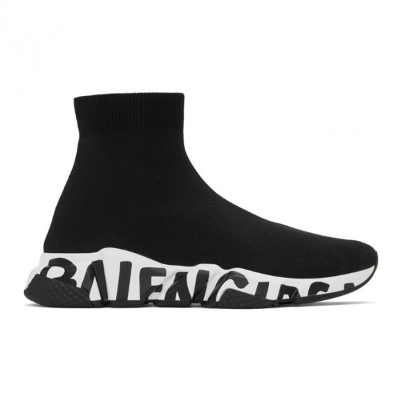 Balenciaga Black and White Graffiti Sole Speed High-Top Sneakers - 645334-W2DB7