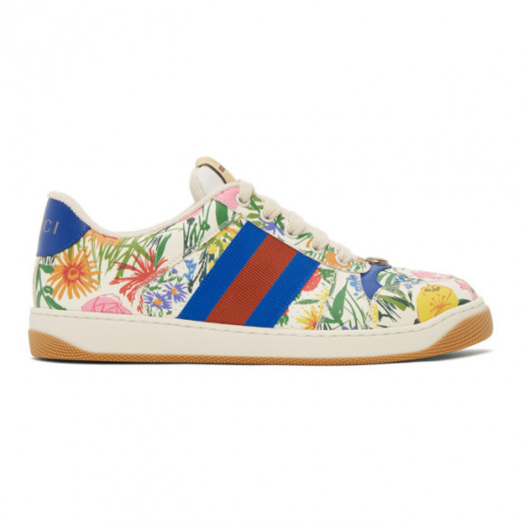 Gucci White Ken Scott Edition Floral Screener Sneakers - 645360-2PH10