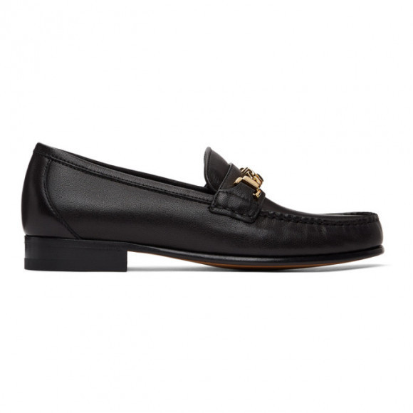Gucci Black Leather Sylvie Chain Loafers - 645445-16M00