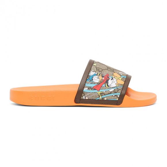 Gucci Orange Disney Edition GG Supreme Donald Duck Sandals - 649655-2M130
