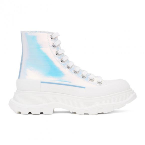 Alexander McQueen Silver Holographic Tread Slick Platform High Sneakers - 650782-W4PC1
