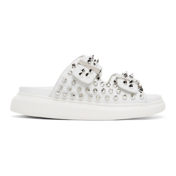 Alexander McQueen White Studded Double Strap Sandals - 650785-WHXZE