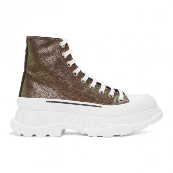 Alexander McQueen Purple Iridescent Tread Slick Boots - 652754W4PB1