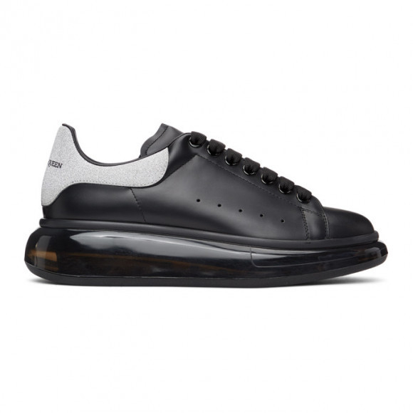 Alexander McQueen SSENSE Exclusive Black and Silver Glitter Oversized Sneakers - 653261-WIA41