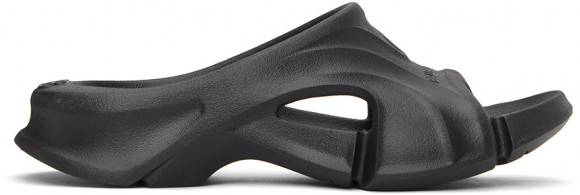 Balenciaga Black Rubber Mold Slide Sandals - 653873-W3CE2