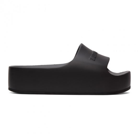 Balenciaga Black Logo Platform Slides - 654315-W1S89