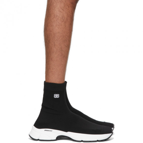 Balenciaga Black and White Speed 3.0 Sneakers - 654532-W2DN1