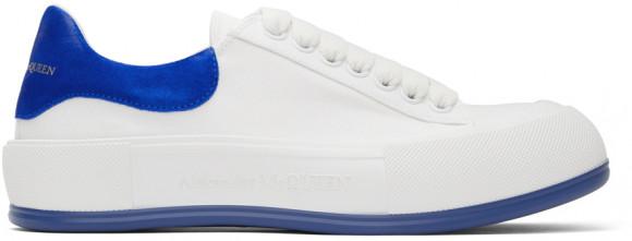 Alexander McQueen White & Blue Deck Plimsoll Sneakers - 654594W4PQ1