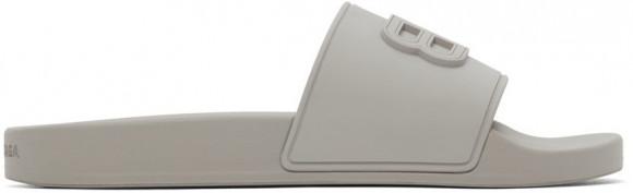 Balenciaga Grey BB Pool Slides - 656395-W1S85-1511