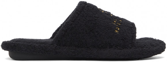 Balenciaga Black Terrycloth Resorts Home Slide Sandals - 656681-W2EC1