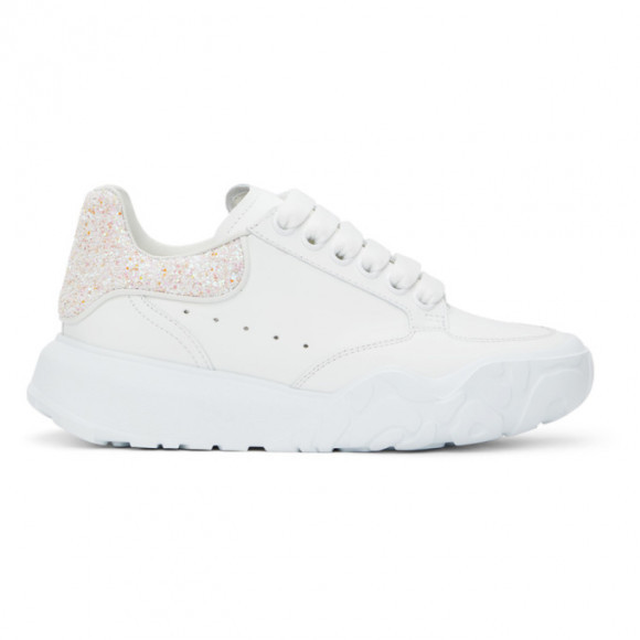 Alexander McQueen White and Pink Glitter Court Sneakers - 657566WIA91