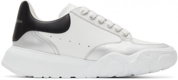 Alexander McQueen White & Silver Court Trainer Sneakers - 662663WIA96