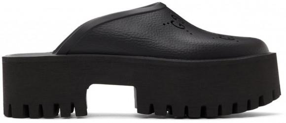 Gucci Black Perforated G Platform Sandals - 663577-JFB00