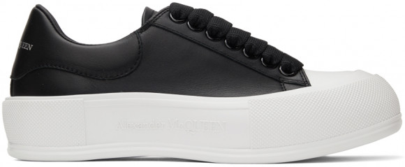 Alexander McQueen Black & White Leather Deck Plimsoll Sneakers - 667245WIAB6