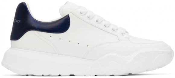 Alexander McQueen White & Navy New Court Sneakers - 667803WIA9J