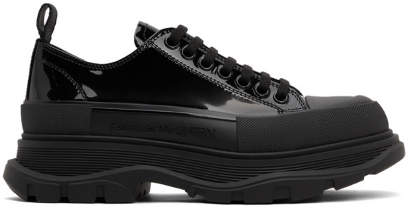 Alexander McQueen Black Patent Tread Slick Low Sneakers - 668774WIA35