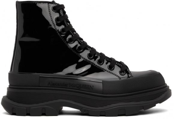 Alexander McQueen Black Patent Tread Slick High Sneakers - 668775WIA35