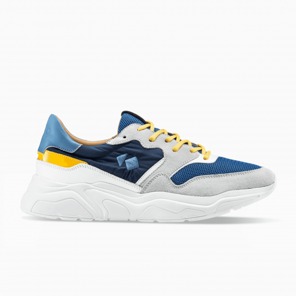 KOIO Men's Chunky Sole Blue Yellow Leather Suede Avalanche 13 (US) / 46 (EU) - 793580044324