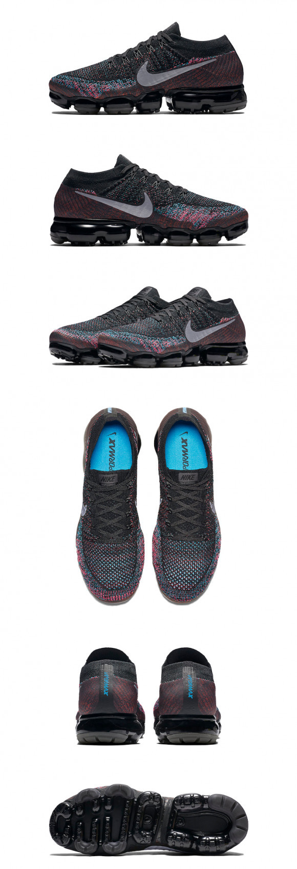 Nike Air VAPORMAX Flyknit Black/METALLIC SILVER-BLUE LAGOON Marathon Running Shoes/Sneakers 849558-015 - 849558-015
